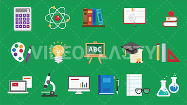 Education Pack 16 Flat Icons ANIMATION