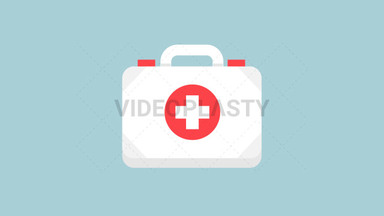 First Aid Kit Flat Icon ANIMATION