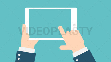 Hand Gesture: Holding a Tablet with Transparent Screen ANIMATION
