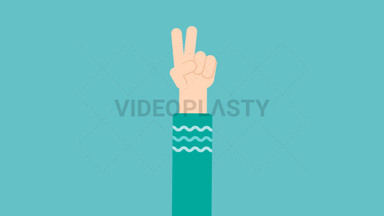 Hand Gesture: Peace sign ANIMATION