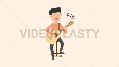 Man Playing Guitar Sitting ANIMATION