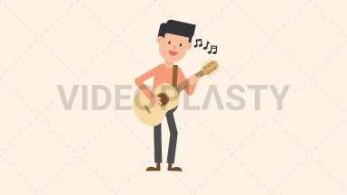 Man Playing Guitar Standing ANIMATION