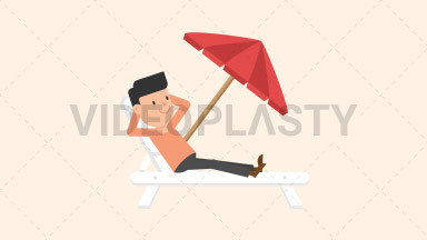 Man Relaxing on the Beach ANIMATION