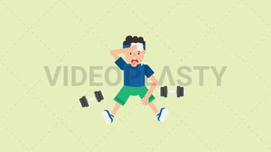 Man Tired After Workout ANIMATION