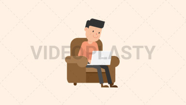 Man Working at his Laptop on the Couch ANIMATION