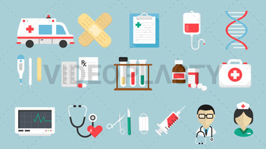 Medical Pack 16 Flat Icons ANIMATION