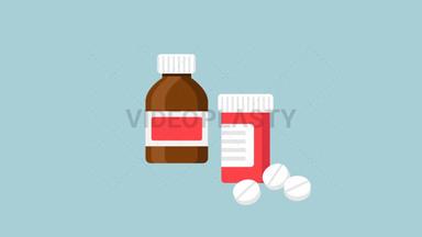 Medicine Bottle Flat Icon ANIMATION