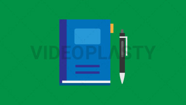 Notebook and Pen Flat Icon ANIMATION