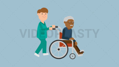 Nurse Pushing a Black Patient on a Wheelchair ANIMATION