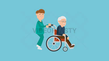 Nurse Pushing a Patient on a Wheelchair ANIMATION