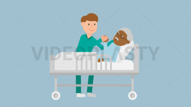 Nurse Taking Care of Black Patient in a Bed ANIMATION