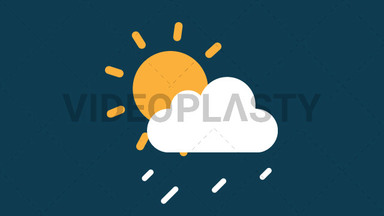 Partly Sunny with Shower Icon ANIMATION