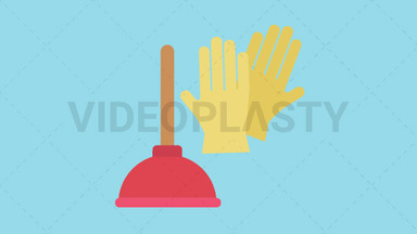 Plunger and Gloves Icon ANIMATION