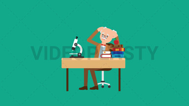 Professor Stressed at his Desk ANIMATION