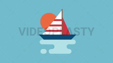 Sailboat Flat Icon ANIMATION