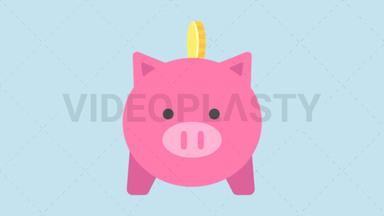 Savings Piggy Bank Icon ANIMATION
