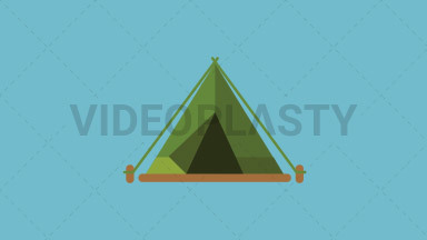 Tent Flat Icon ANIMATION