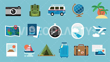 Travel Pack 16 Flat Icons ANIMATION