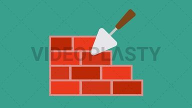 Trowel with Bricks Icon ANIMATION