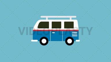 Volkswagen Van Flat Icon ANIMATION