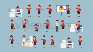 Asian Corporate Woman Pack - 17 Character Actions Royalty Free Stock GIF Animation
