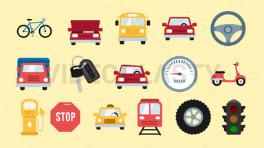 Auto & Road Pack - 16 Icons Royalty Free Stock GIF Animation
