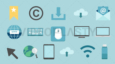 Computer & Internet Pack - 17 Icons Royalty Free Stock GIF Animation