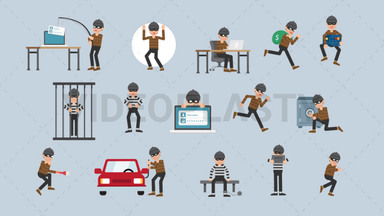Criminal Character Pack - 15 Character Actions Royalty Free Stock GIF Animation