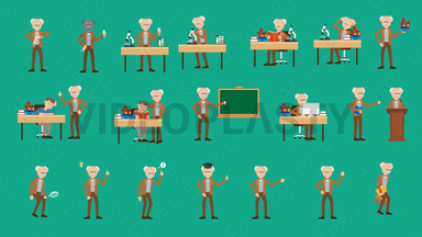 Education GIF Animation Pack - 20 Character Actions Royalty Free Stock GIF Animation
