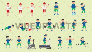 Male Fitness Pack - 21 Character Actions Royalty Free Stock GIF Animation