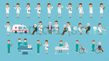 Medical Character Pack - 22 Actions Royalty Free Stock GIF Animation