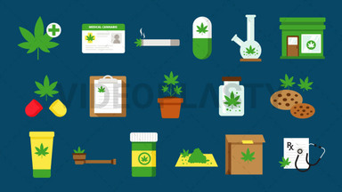 Medical Marijuana Pack - 17 Icons Royalty Free Stock Animation
