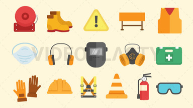 Safety Equipment Pack - 16 Icons Royalty Free Stock GIF Animation