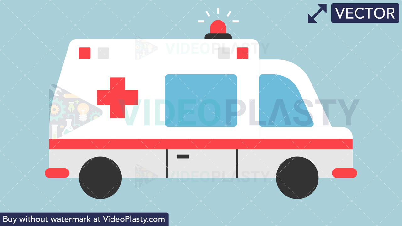 Ambulance Flat Icon Vector Clipart