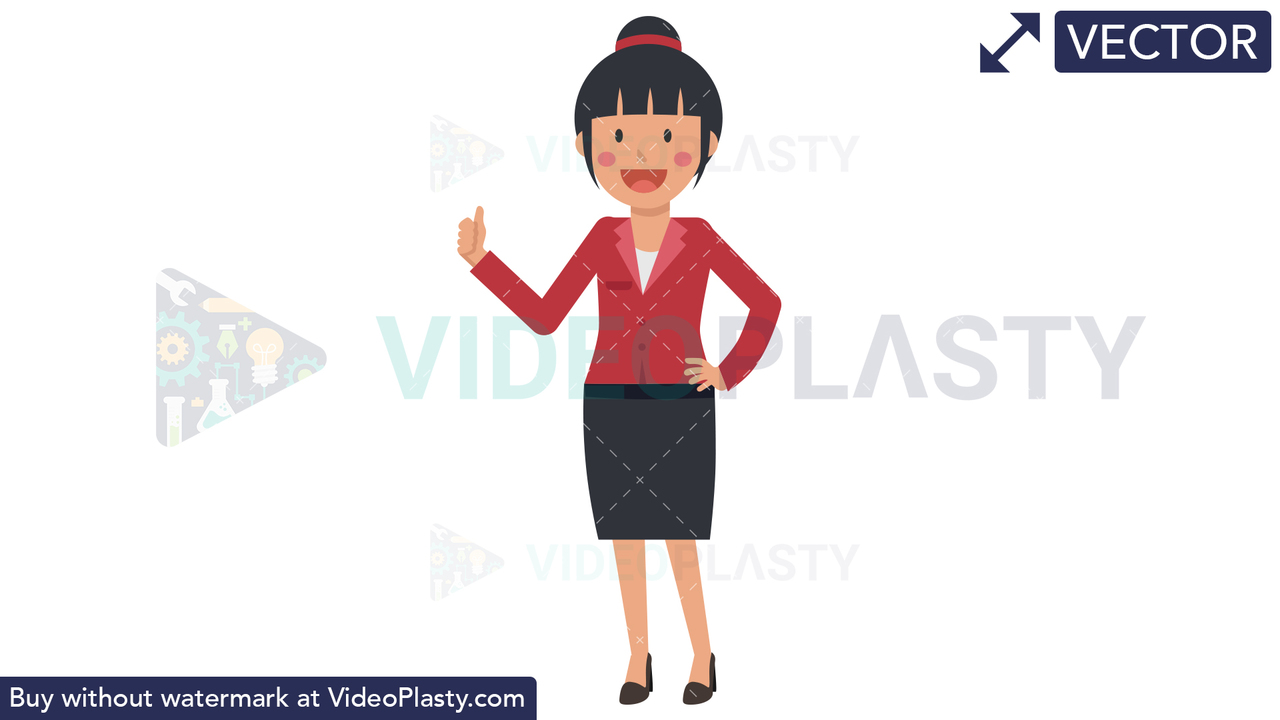 Asian Corporate Woman Approving Vector Clipart