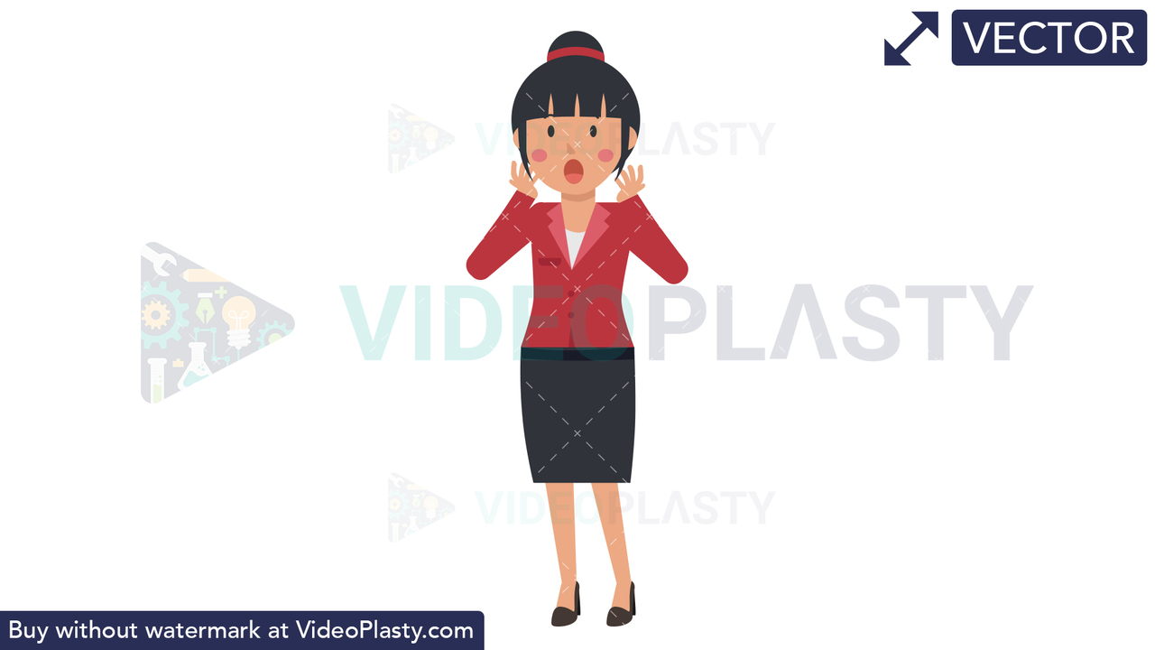 Asian Corporate Woman Being Surprised Vector Clipart