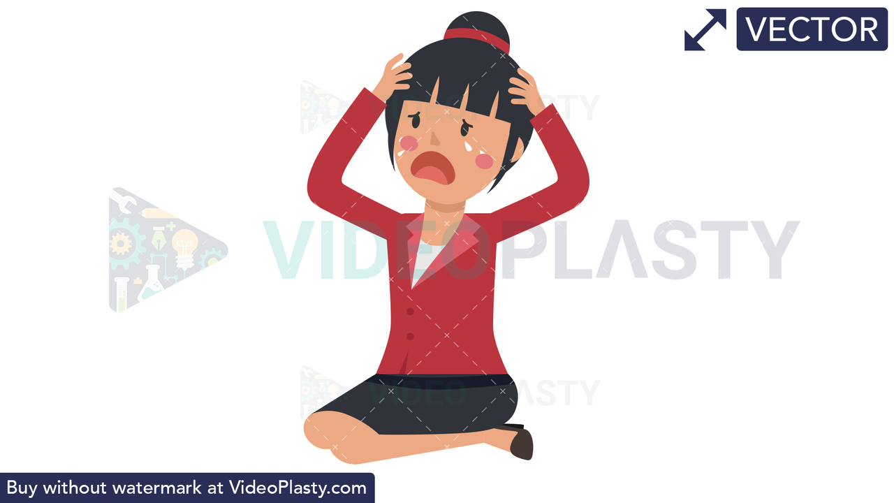 Asian Corporate Woman Crying Vector Clipart