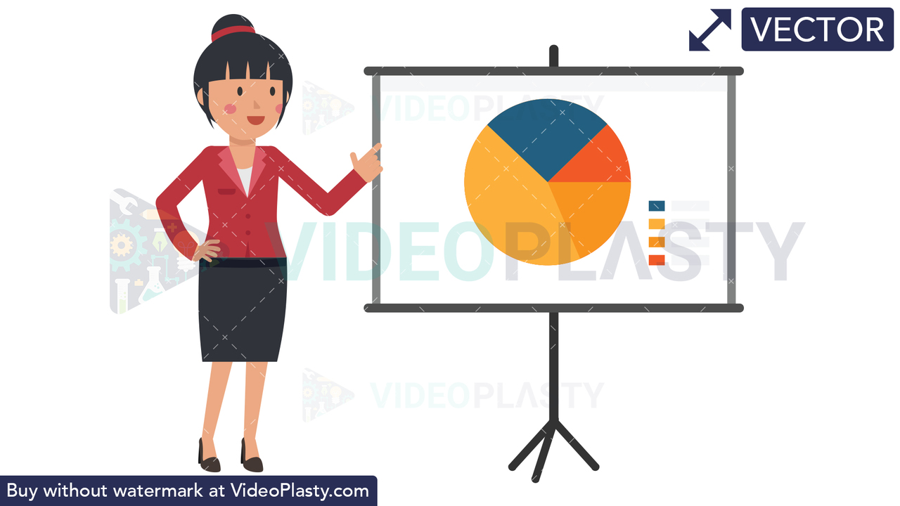 Asian Corporate Woman Giving Presentation Vector Clipart