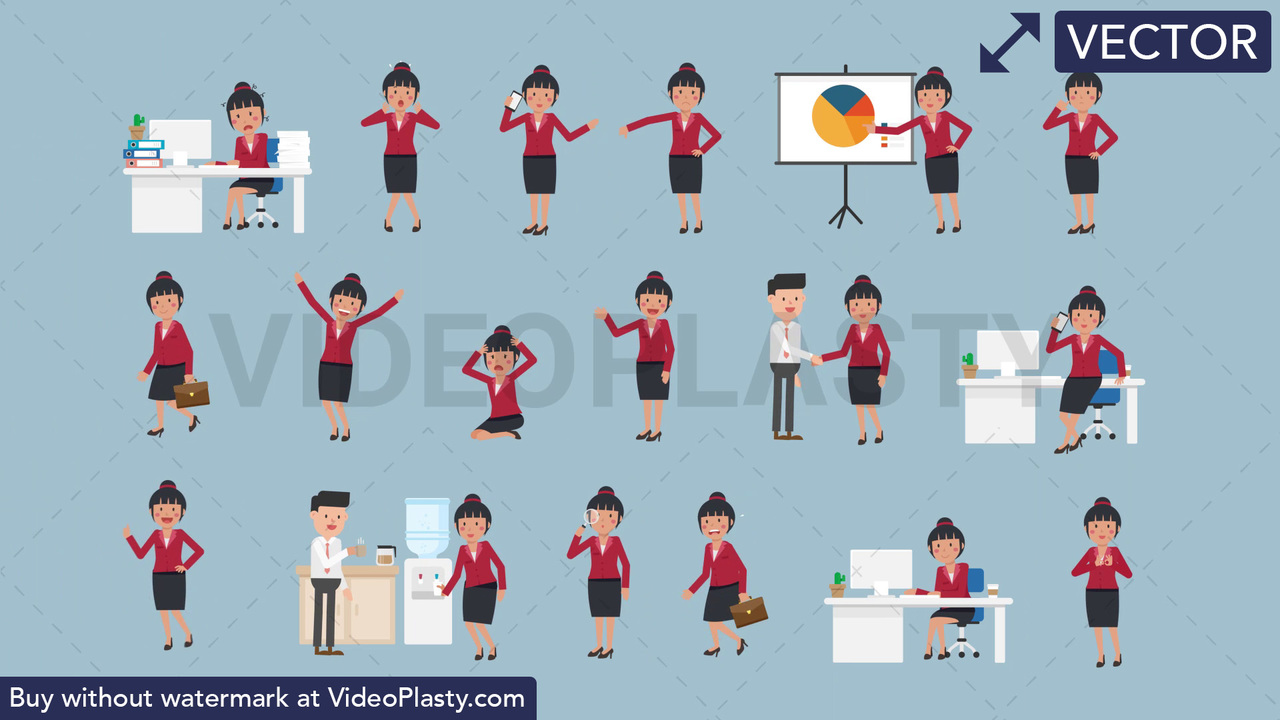 Asian Corporate Woman Pack - 17 Character Actions Vector Clipart