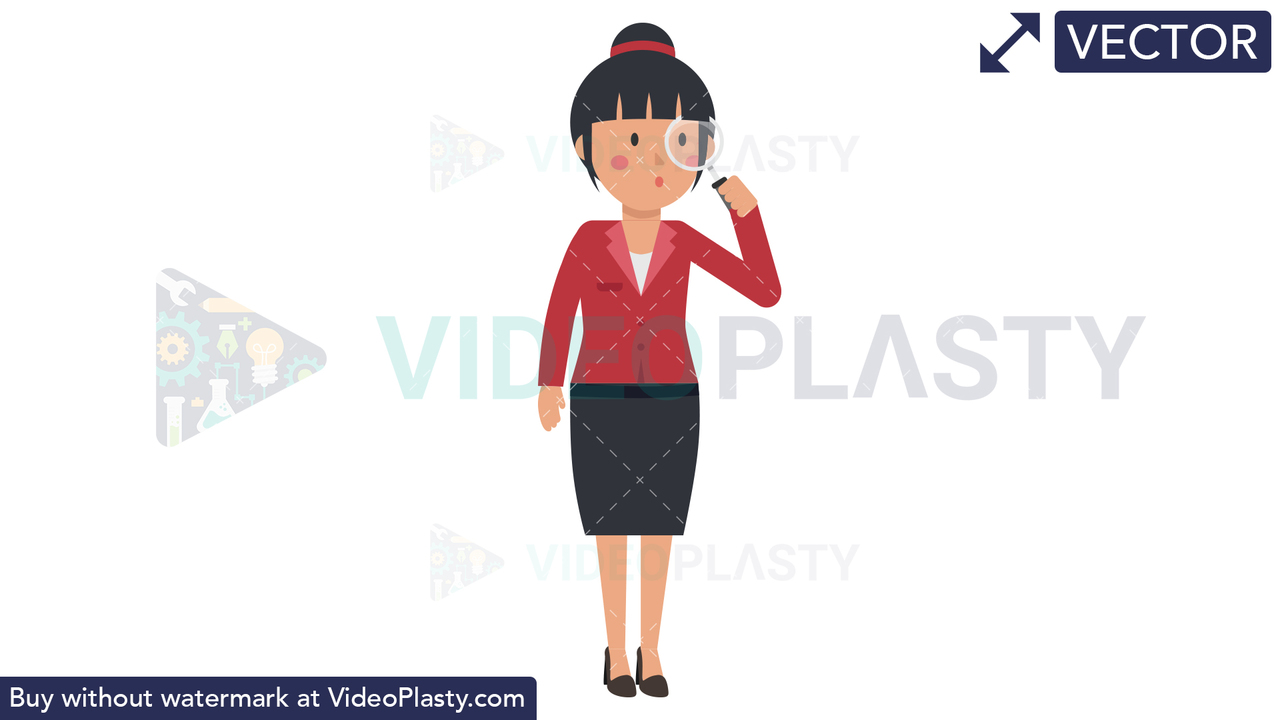 Asian Corporate Woman Researching Vector Clipart