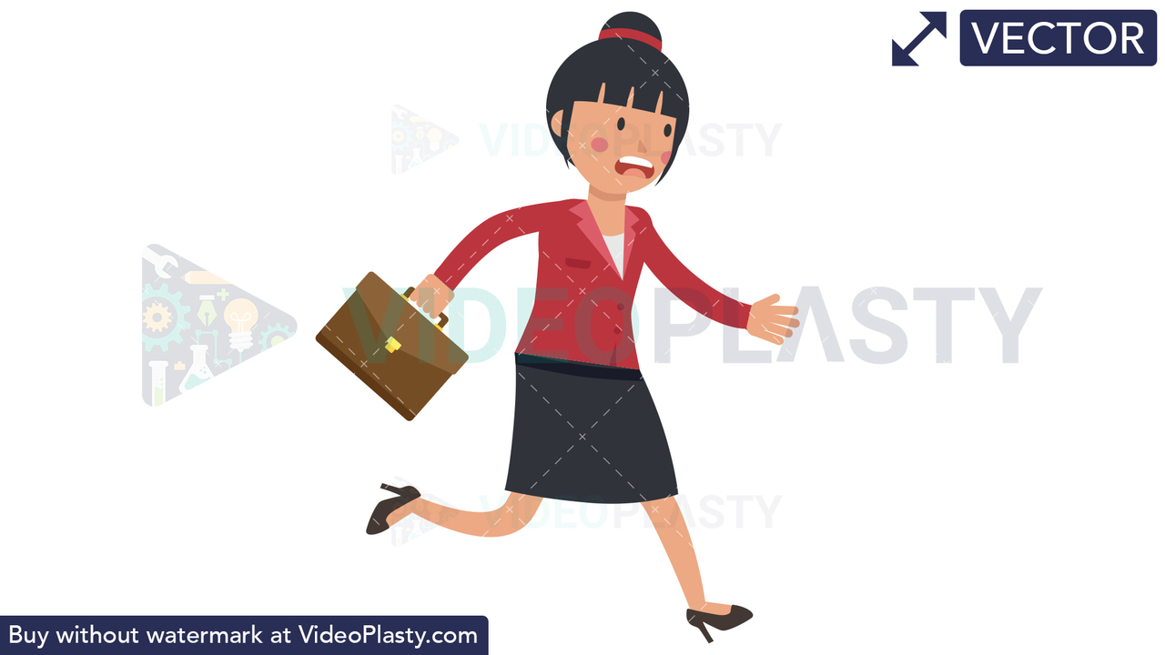 Asian Corporate Woman Running Late Vector Clipart