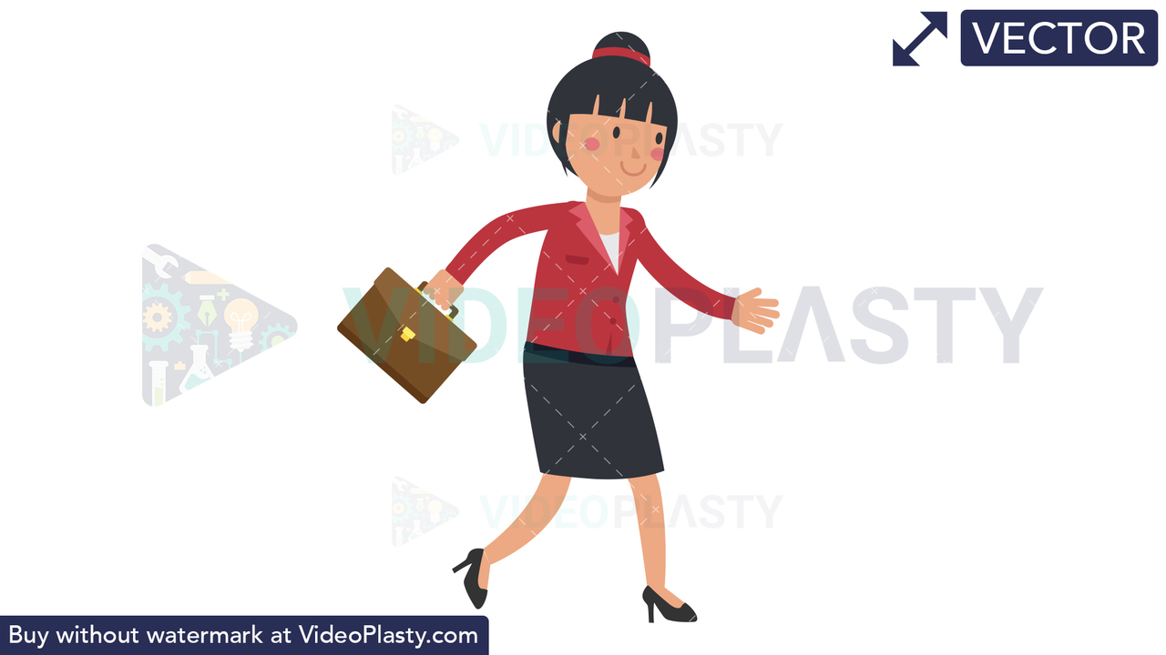 Asian Corporate Woman Walking With Suitcase Vector Clipart