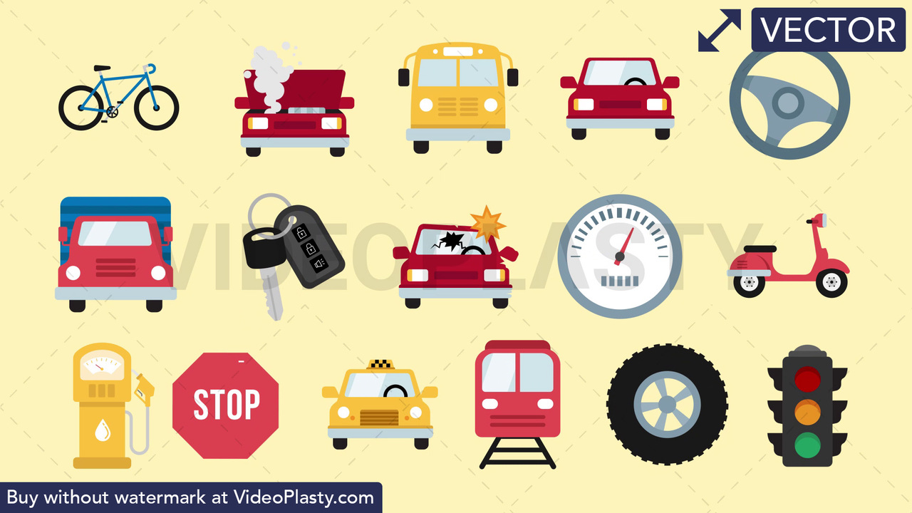 Auto & Road Pack - 16 Icons Vector Clipart