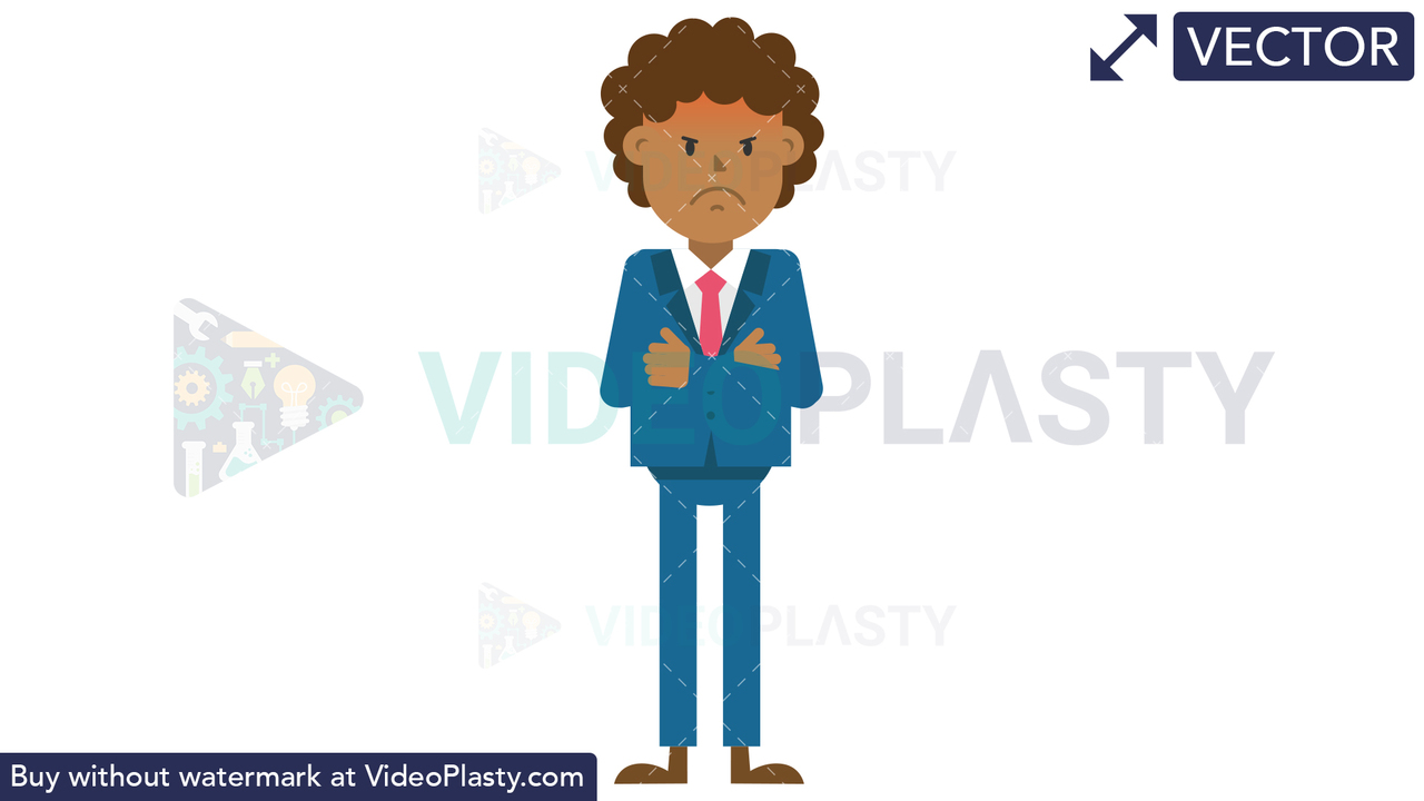 Black Corporate Man Being Angry Vector Clipart