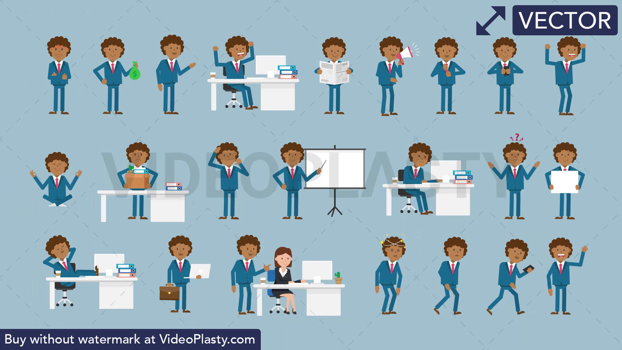Black Corporate Man Character Pack - 23 Character Actions Vector Clipart