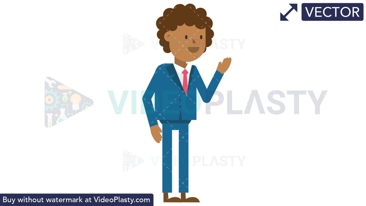 Black Corporate Man Discussing Vector Clipart