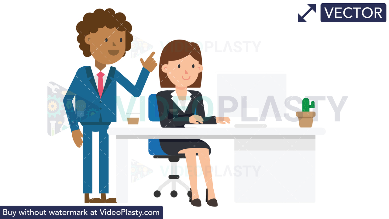 Black Corporate Man Giving Instructions Vector Clipart
