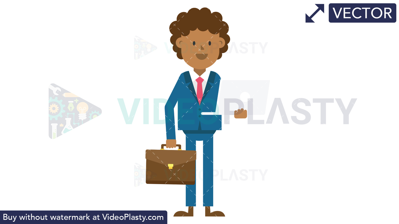 Black Corporate Man Holding a Laptop and Suitcase Vector Clipart