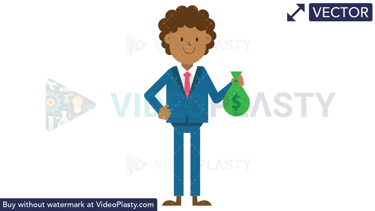 Black Corporate Man Holding a Sack of Money Vector Clipart