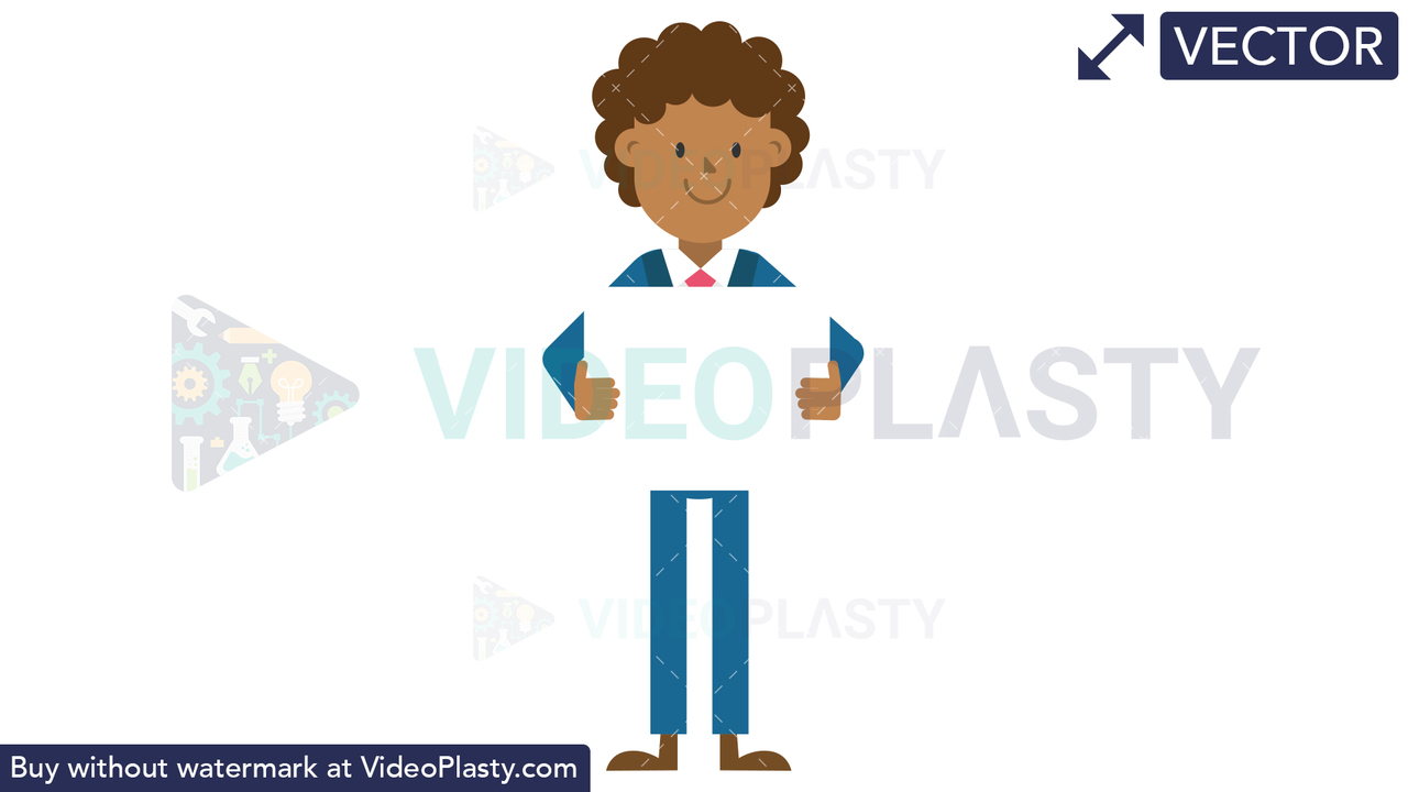 Black Corporate Man Holding a Whiteboard Vector Clipart